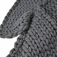 Colorful(TM) Handarbeit gestrickte Decke, dicke Wolldecke, sperrige strickende Decke, Sofadecke (Dunkelgrau, 100 x 80 cm)