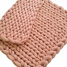 Colorful(TM) Handarbeit gestrickte Decke, dicke Wolldecke, sperrige strickende Decke, Sofadecke (Khaki, 100 x 80 cm)