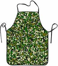 Colorful Tropical Green Camo Pattern Aprons Bib