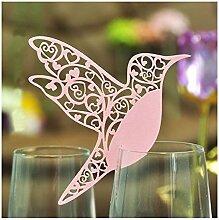 ColorMaxNet Tischkarten, Laser-geschnitten, Elfenbeinfarbene Kolibri-Tischkarten für Weinglas, 50Stück Pink