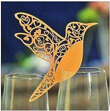 ColorMaxNet Tischkarten, Laser-geschnitten, Elfenbeinfarbene Kolibri-Tischkarten für Weinglas, 50Stück Gelb