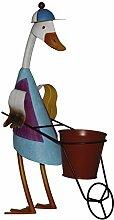 colourliving Dekofigur ENTE Rennkarre Jockey-Mütze Pflanztopf Metall handbemalt Gartendeko Blechente