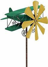 colourliving® Windspiel Flugzeug Metall-Windrad DOPPELDECKER Grün-Gelb Gartendeko