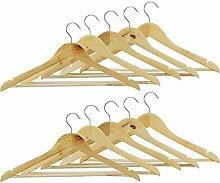 COM-FOUR® 10x Kleiderbügel aus Holz, mit Hosensteg antirutsch-beschichtet (10 Stück)