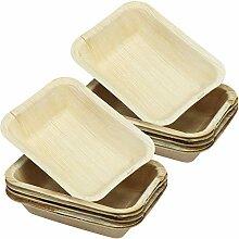 COM-FOUR® 12x Palmblatt-Snackschalen aus Holz,