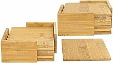 com-four® 14-teiliges Untersetzer Set aus Bambus,