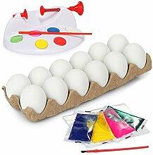 com-four® 19-teiliges Eier-Malset für Kinder,