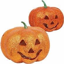 com-four® 2-teiliges Deko Halloween Kürbis-Set