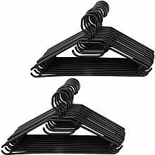 com-four 20x Kleiderbügel mit drehbaren Haken in schwarz, ca. 41 cm breit (20 Stück - schwarz)