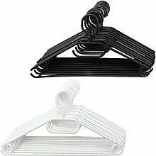 COM-FOUR® 20x Kleiderbügel mit drehbaren Haken in verschiedenen Farben, ca. 41 cm breit (20 Stück - schwarz/weiß)