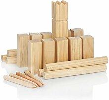 com-four® 21-teiliges Kubb Spiel aus Holz Outdoor
