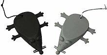 COM-FOUR® 2er Set Maus-Türstopper in schwarz und grau, 12,0 x 9,0 cm aus Silikon (2 Stück grau/schwarz)