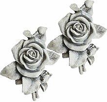 COM-FOUR® 2x Deko Rose in Steinoptik, als Grabschmuck, ca. 13 x 12 x 4,5 cm (02 Stück)