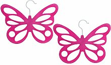 COM-FOUR® 2x Schalhalter Schmetterling mit Samtbeflockung, 12 Öffnungen, 29 x 23,5 cm, pink