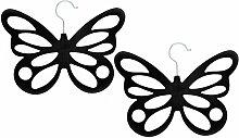 COM-FOUR® 2x Schalhalter Schmetterling mit Samtbeflockung, 12 Öffnungen, 29 x 23,5 cm, schwarz