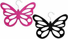 com-four 2X Schalhalter Schmetterling mit Samtbeflockung, 12 Öffnungen, 29 x 23,5 cm, Pink und Schwarz