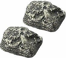 COM-FOUR® 2x Schlüsselstein, Versteck für Schlüssel in Steinoptik für bis zu 3 Schlüssel je Stein (2 Stück)