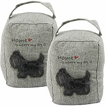 "COM-FOUR® 2x Türstopper für Hundeliebhaber mit Aufdruck ""Home is where my Dog is"" in hellgrau, je Stopper 1kg und 18 x 14 cm (hellgrau - 2 Stück)"