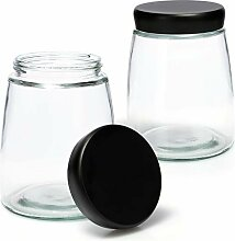 COM-FOUR® 2x Vorratsglas mit Deckel -