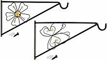 COM-FOUR 2x Wandhalterung aus pulverbeschichteten Stahl für Blumenampeln, Windspiele, etc. in verschiedenen Designs, ca. 30 x 17 cm, inkl. Schrauben und Dübel