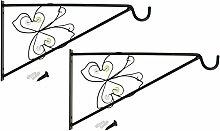 COM-FOUR 2x Wandhalterung aus pulverbeschichteten Stahl für Blumenampeln, Windspiele, etc. im Schmetterlingdesign, ca. 30 x 17 cm, inkl. Schrauben und Dübel
