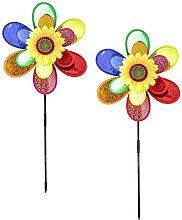 COM-FOUR® 2x Windspiel, Windrad Blume, Windmühle, toller Hingucker für Ihren Garten (2 Stück)