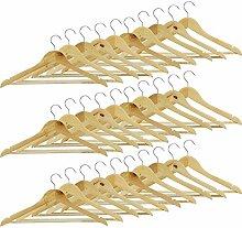 COM-FOUR® 30x Kleiderbügel aus Holz, mit Hosensteg antirutsch-beschichtet (30 Stück)
