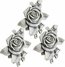 COM-FOUR® 3x Deko Rose in Steinoptik, als Grabschmuck, ca. 13 x 12 x 4,5 cm (03 Stück)