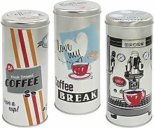 COM-FOUR® 3x Kaffeepaddosen, Dekodose, Aufbewahrungsbehälter für Kaffeepads (3 Stück - silber Mix1)