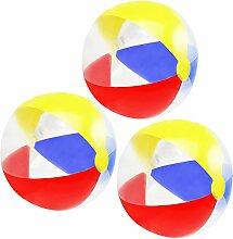 COM-FOUR® 3x Strandball, Beachball in sommerlichen Farben, Ø 41 cm