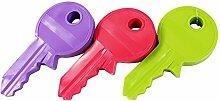 COM-FOUR® 3x Türstopper im Schlüsseldesign, grün, lila, pink