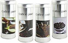 com-four® 4X Kaffeepad-Dose, Dekodose, zufällige