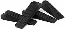COM-FOUR® 4x Türstopper in Keilform, schwarz, stabiler Kunststoff, 12cm (4 Stück)