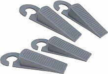 COM-FOUR® 4x Türstopper Tür Stopper Keil aus Kunststoff grau mit Haken (04 Stück)