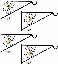 COM-FOUR 4x Wandhalterung aus pulverbeschichteten Stahl für Blumenampeln, Windspiele, etc. im Blumendesign, ca. 30 x 17 cm, inkl. Schrauben und Dübel