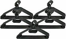 COM-FOUR® 50x Business - Kleiderbügel mit drehbaren Haken in schwarz, ca. 41 cm breit (50 Stück - schwarz)