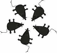 COM-FOUR® 5x Maus-Türstopper in schwarz, 12,0 x 9,0 cm aus Silikon (5 Stück schwarz)