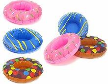 com-four 6X aufblasbarer Getränkehalter Donut in Verschiedenen Farben, Witziges Badespielzeug Zum Aufpusten mit Platz für 1 Flasche Oder Getränkedose, Ø 18 cm (06 Stück - Donut)