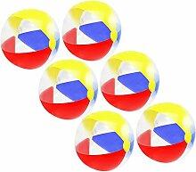 COM-FOUR® 6x Strandball, Beachball in sommerlichen Farben, Ø 41 cm