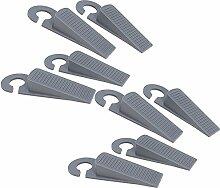 COM-FOUR® 8x Türstopper Tür Stopper Keil aus Kunststoff grau mit Haken (08 Stück)