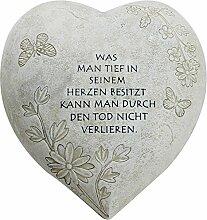 com-four Deko Herz Groß Tief im Herzen, in Steinoptik, als Grabschmuck, 20,5 x 20 x 11,5 cm (01 Stück - Spruch 4)