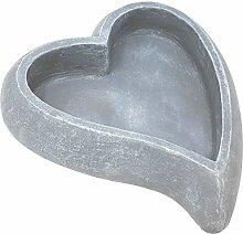 COM-FOUR® Deko - Herz zum Bepflanzen als Grabschmuck 34 x 30 cm in grau (01 Stück - Pflanzherz)