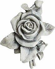 COM-FOUR® Deko Rose in Steinoptik, als Grabschmuck, ca. 13 x 12 x 4,5 cm (01 Stück)