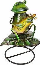 com-four Dekofigur Frosch mit Gitarre, Gartenfigur aus bunt lackiertem Metall im Frosch-Design, ca. 30x23x16cm