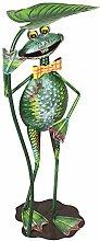 com-four Dekofigur Frosch mit Lilienblatt, Gartenfigur aus bunt lackiertem Metall im Frosch-Design, ca. 67x25,5x18,5cm