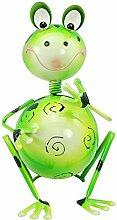 com-four Dekofigur sitzender Frosch, Gartenfigur aus bunt lackiertem Metall im Frosch-Design, ca. 26,5x18x18cm