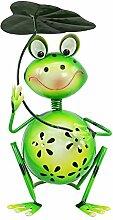 com-four Dekofigur sitzender Frosch mit Blatt, Gartenfigur aus bunt lackiertem Metall im Frosch-Design, ca. 30x18x18cm