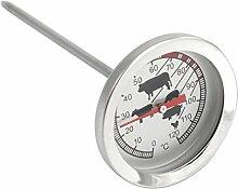 COM-FOUR® Edelstahl Bratenthermometer analog