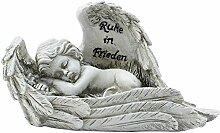 """COM-FOUR schlafender Deko Engel in antik-grau, mit Inschrift """"Ruhe in Frieden"""", ca. 19 x 8 x 9 cm"""