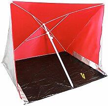 COM-FOUR® Strandschirm mit UV-Schutz und Windschutz, Sonnenschirm für den Strand in rot, 170x170cm